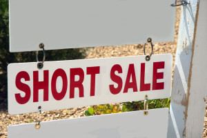 short sale sign on pole with copy space